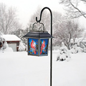 Solar Stained Glass Cardinal Lantern - 12554