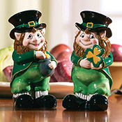 Lovable Irish Leprechaun Salt & Pepper Shaker Set