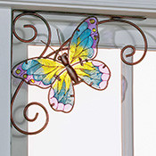Set of 2 Glass Butterfly Corner Brackets