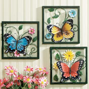 Fluttering Butterfly Wall Art Trio