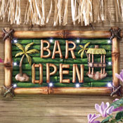 Tiki Bar Open Lighted Sign Wall Decor