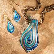Art Glass Pendant and Earring Jewelry Set