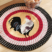 Rooster Kitchen Round Braided Rug