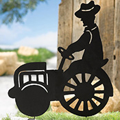 Metal Farm Tractor Shadow Stake  Lawn Ornament