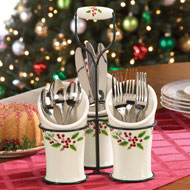 Holly Christmas Utensil Holder