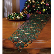 Cut-out Christmas Holly Table Runner Decoration