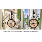 Wall Hanging Metal Clock with Thermometer