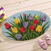 Oval Tulip Outdoor Welcome Mat