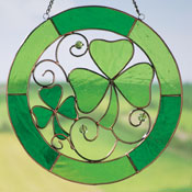 St. Patrick's Day Irish Shamrock Stained Glass Suncatcher - 17098