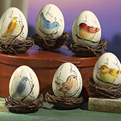 Nested Collectible Songbird Egg Figurines