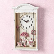 Victorian Tea Set Shadow Box Wall Clock