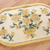 Yellow Rose Flower Oval Small Area Rug