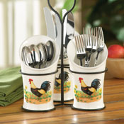 Country Rooster Kitchen Flatware Utensil Holder
