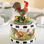 Rooster w/ Sunflowers Figurine Kitchen Timer