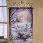 Winter Scene Wall Print With Fiber Optics Lights