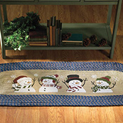 Blue Braided Runner Rug with Snowmen Decorations