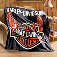 Harley Davidson Motorcycle Fleece Throw Blanket - 20246