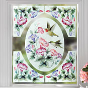 Hummingbirds & Flowers Removable Window Clings