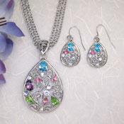 Crystals Teardrop Pendent Necklace & Earrings