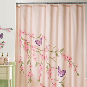Cherry Blossom & Butterflies Pink Shower Curtain