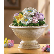 Spring Floral Bouquet Decorative Tabletop Fountain
