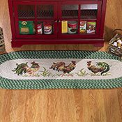 Braided Country Kitchen Rooster Decor Floor Runner