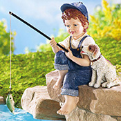 Little Boy Fishing Outdoor Garden Pond Sculpture - 21318