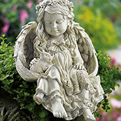 Barefoot Angel & Bunny Rabbit Garden Sculpture