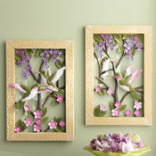 Framed Floral Hummingbird Metal Wall Decor
