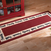 """Faith, Family, Friends"" Border Red Runner Rug"