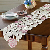 Cut-Out Rose Embroidery Table Runner