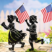 Patriotic Shadow Kids Metal Yard Decorations