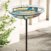 Art Glass Butterfly Birdbath w/ Stand