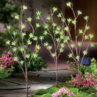Solar Flower Branch Garden Stakes - Set of 3