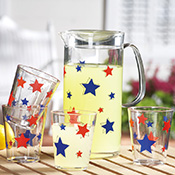 Patriotic Stars Pitcher & Drink Glasses Set