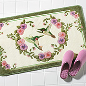 Hummingbird Floral Bath Accent Rug