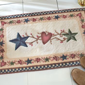 Country Primitive Stars & Hearts Bath Rug