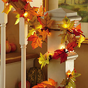 Lighted Fall Leaves Garland - 23554