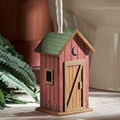 Country Wooden Outhouse Toilet Brush Holder - 23919