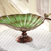 Bird & Leaf Decorative Pedestal Dish