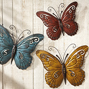 Nature Inspired Metal Butterfly Wall Art Trio - 24523