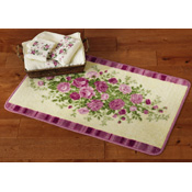 Pink Country Rose Floral Bathroom Rug