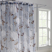 Light Blue Shower Curtain With Floral Peony Design