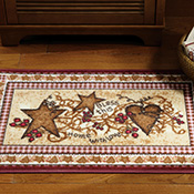 Primitive Country Hearts and Stars Bathroom Accent Rug