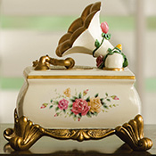 "Victorian Gramaphone Floral Music Box - ""Greensleeves"""