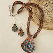 Art Glass Pendant Beaded Necklace And Earring Set