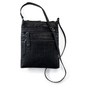 Black Faux Croc Crossbody Purse