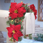 Solar Poinsettia Swag Holiday Mailbox Decoration - 25619