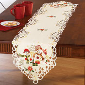 Snowman Couple Christmas Table Linens - 25881