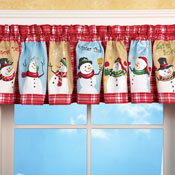 Snow Time Checkered Window Valance